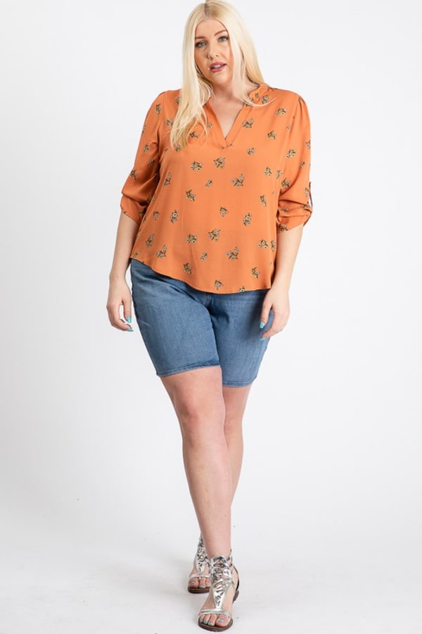 Over Wrap Top - Orange - Front