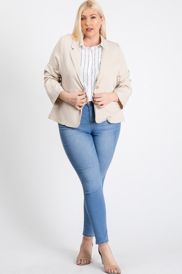 That Formal Look Blazer - Khaki - Front
