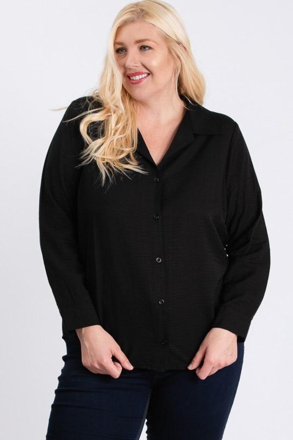 Collar Shirt - Black - Front