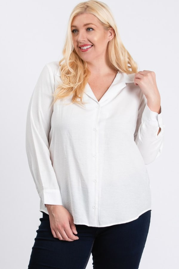 Collar Shirt - White - Front