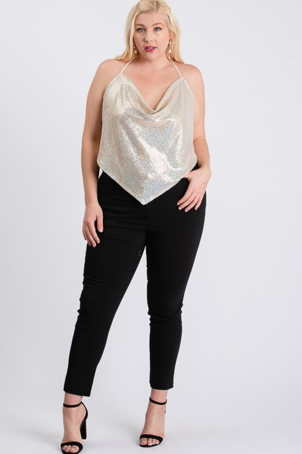 Party Animal Metallic Top - Ivory - Front