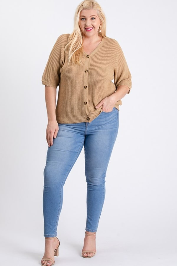 V-Neck Sweater - Mocha - Front
