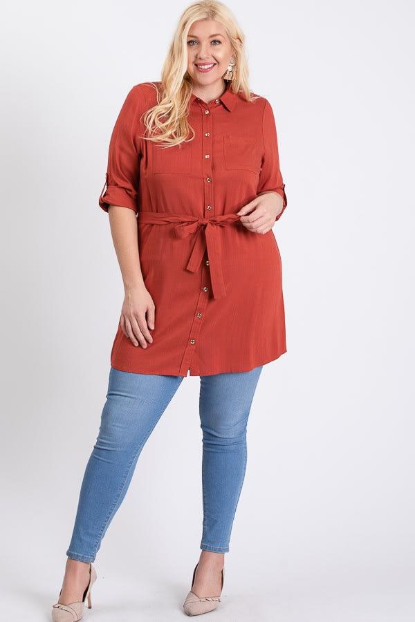 Buttoned Shirt Dress - Rust - Front