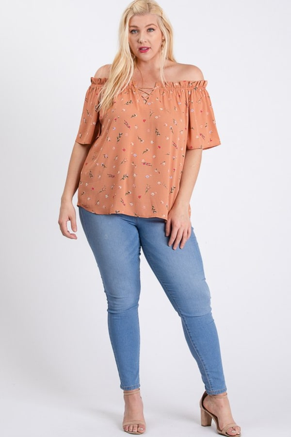 Small Flowers Off-Shoulder Top - Peach - Front