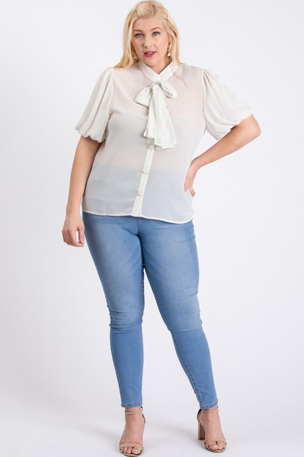 Dot Print Blouse - Off-White - Front