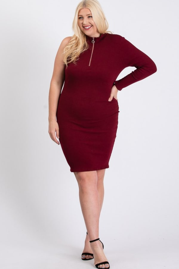 One-Shoulder Sexy Dress -Burgundy - Front