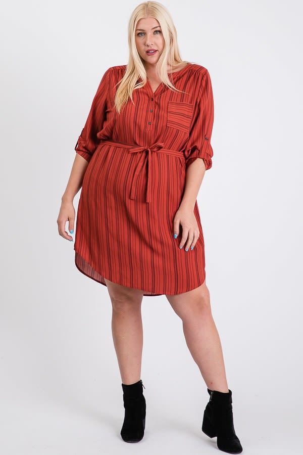Casually Chic Shirt Dress -Rust - Front