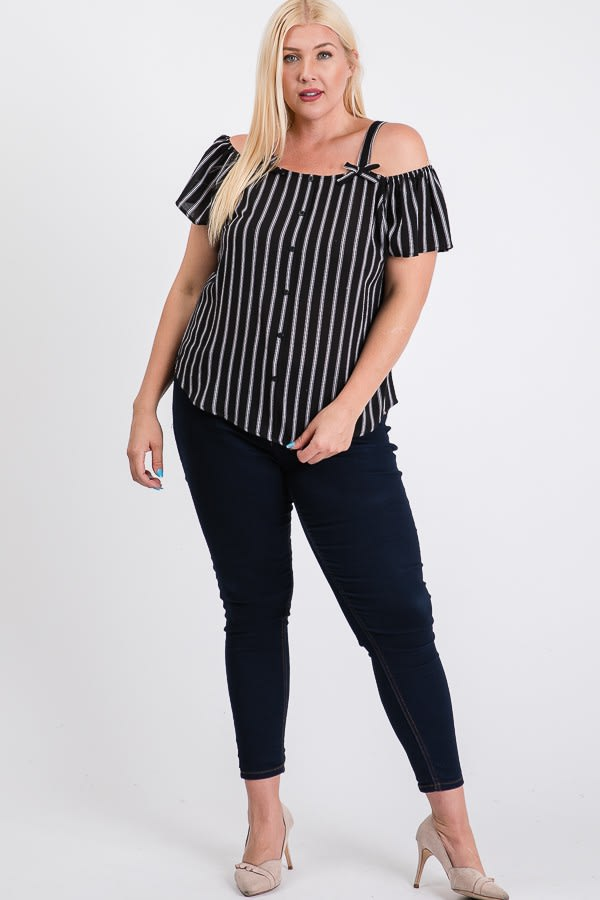 Striped Cold-shoulder Top - Black - Front