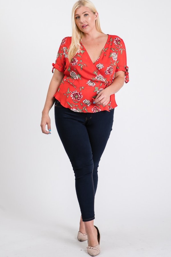 Big Flowers Over Wrap Top - Red - Front