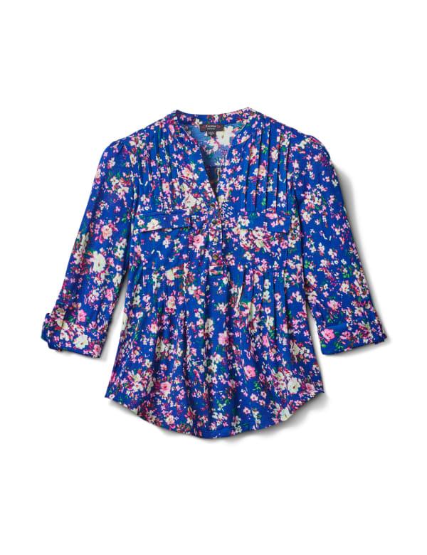 3/4 Purple Floral Pintuck Knit Popover-Petite - Navy-Purple - Front