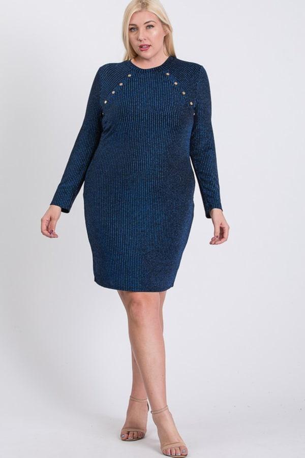 Semi-Formal Striped Metallic Dress - Blue - Front