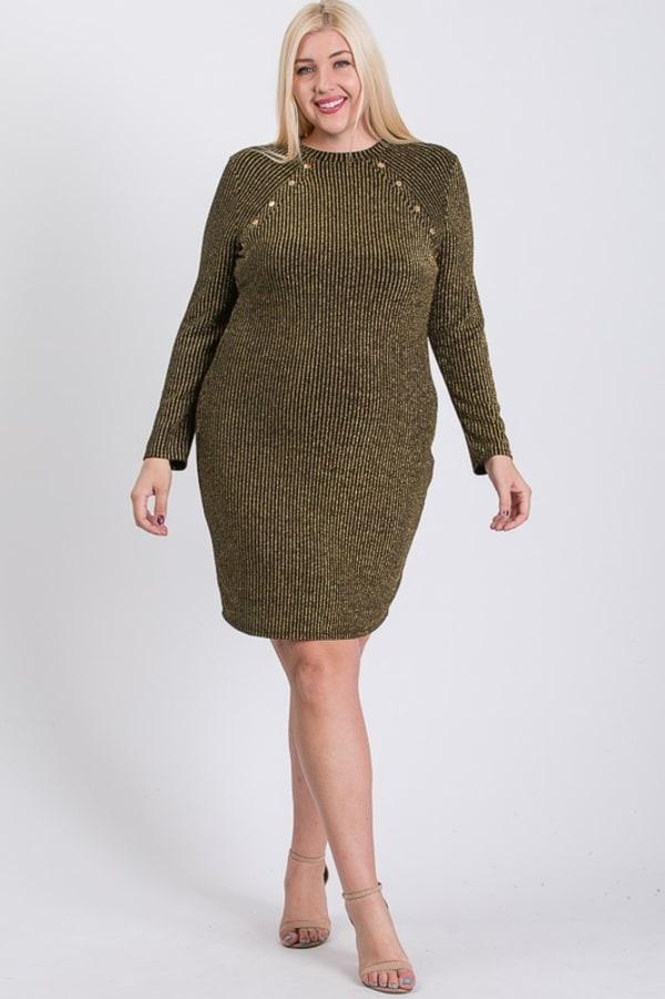 Semi-Formal Striped Metallic Dress - Olive - Front