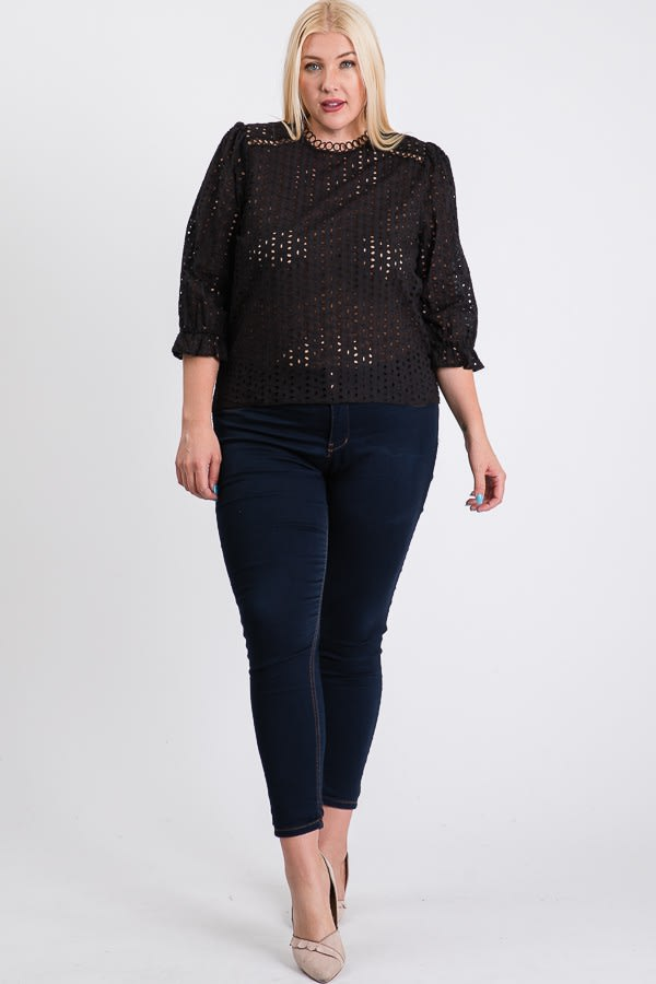 Stand Collar Eyelet Top - Black - Front