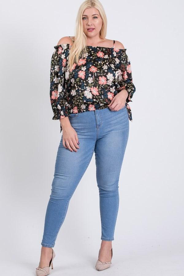 Satin Floral Off-Shoulder Top - Black - Front