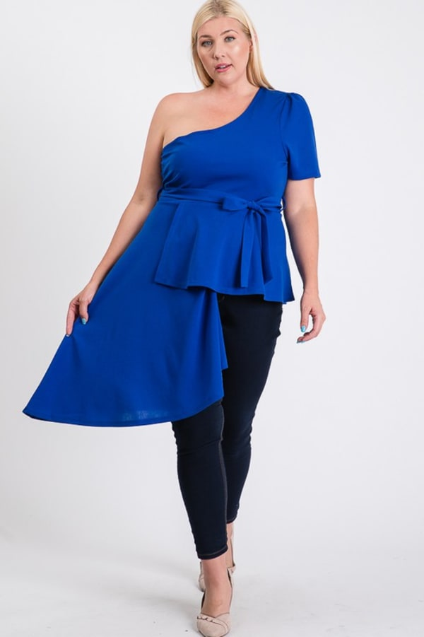 Twirl Around One-Shoulder Peplum Top - Royal - Front
