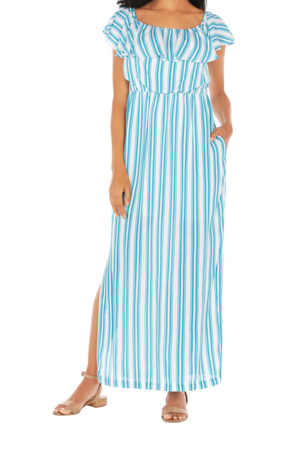 Caribbean Joe® Off The Shoulder Maxi Dress - Blue/Green - Front