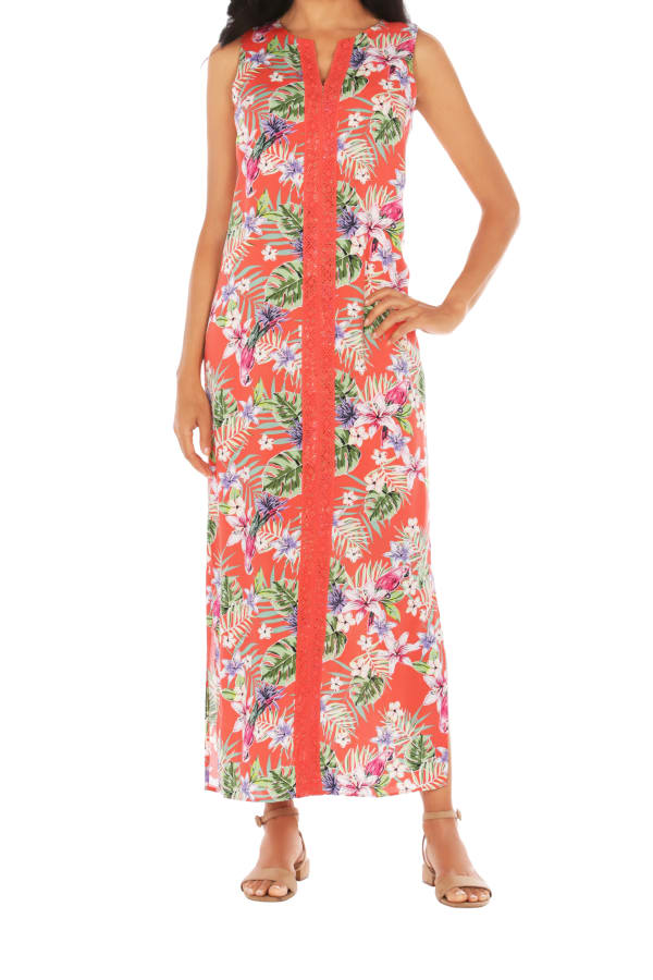 Caribbean Joe® Maxi Side Slit Dress - Red - Front