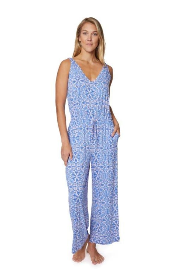 Caribbean Joe® Tie Waist Jumpsuit - light blue - Front