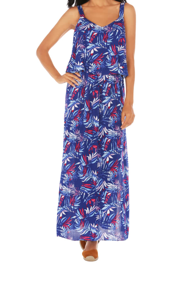 Caribbean Joe® Double Layer Maxi Dress - Blue - Front