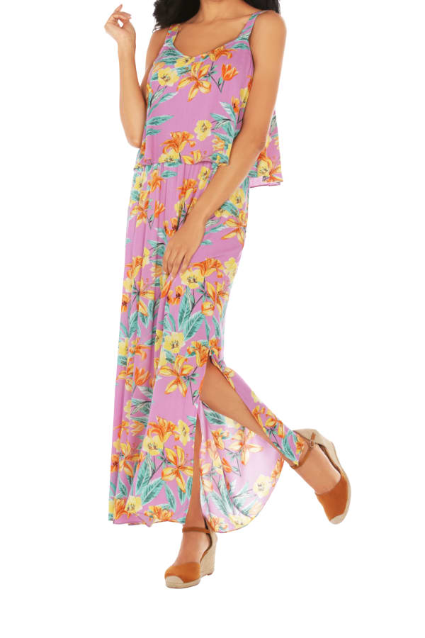 Caribbean Joe® Double Layer Maxi Dress -Pink - Front