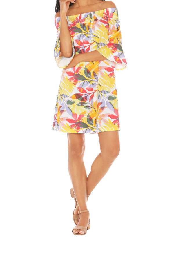 Caribbean Joe® UPF Sun Protection Off the Shoulder Dress - Sunrise - Front