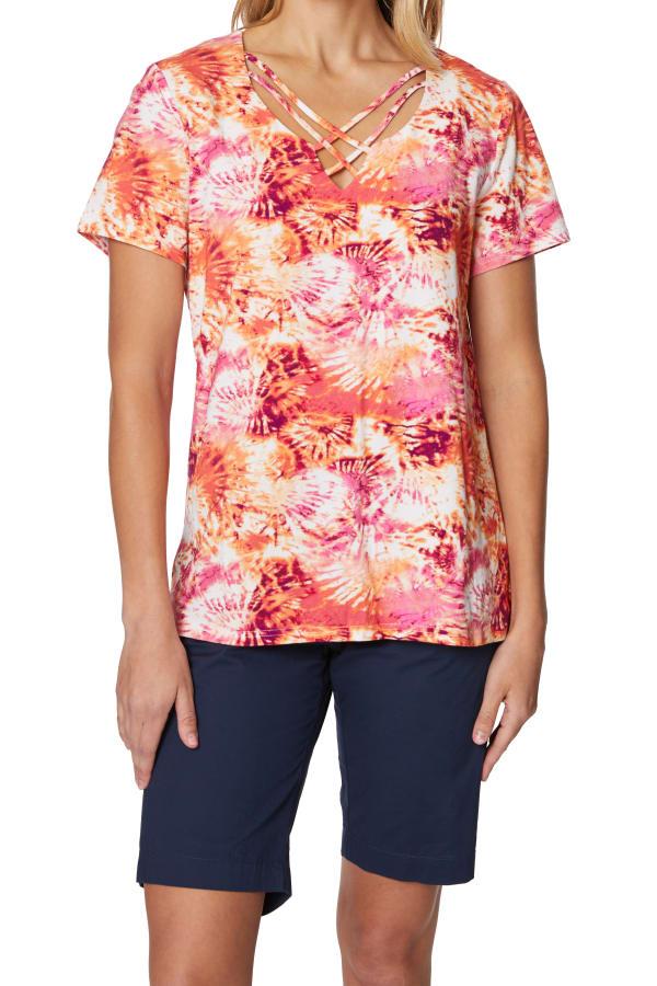 Caribbean Joe® Criss Cross Knit Top - Sundried - Front