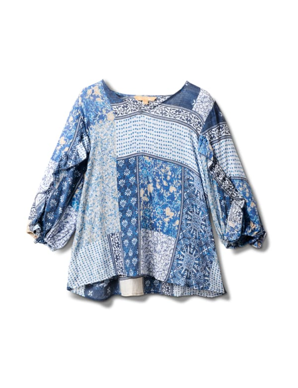 Patchwork Ruffle Sleeve Blouse - Navy Blazer/Chino - Front