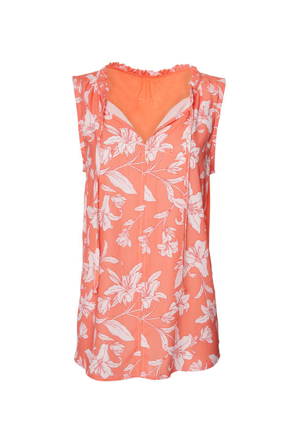 Caribbean Joe® Mixed Media Top - Coral - Front