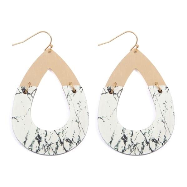 Teardrop Metal x Wood Earrings - Black / White - Front