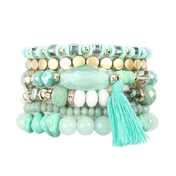 Aquamarine Loving Boho Charm Bracelet - Green - Front