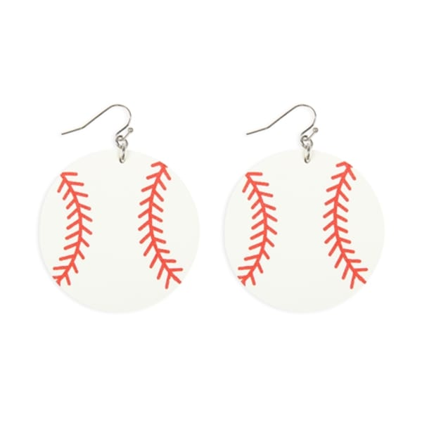 Baseball Leather Earrings - White / Red - Front