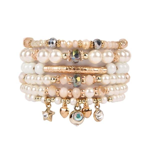 Golden Multi-Beaded Charm Bracelet - Gold - Front