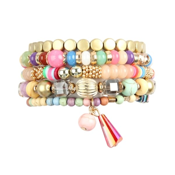 Light And Bright Colored Multi-beaded Stretch Bracelet - Multicolored - Front