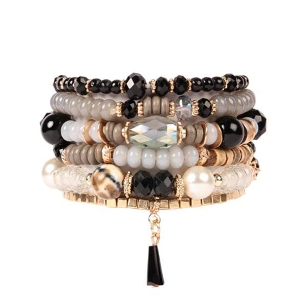 Multi-stones Beaded Stackable Bracelet - Black - Front