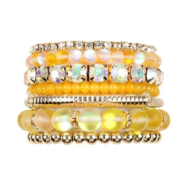 Yellow Mermaid Glass Bracelet Set - Yellow - Front