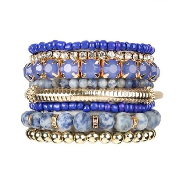 Blue Stackable Beads Bracelet Set - Blue - Front