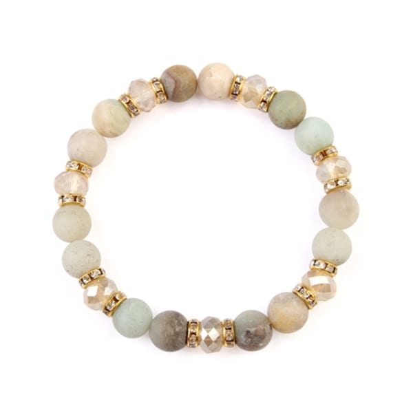 Warm Colored Rondelle Glass Beads Stretch Bracelet - Gold / White - Front