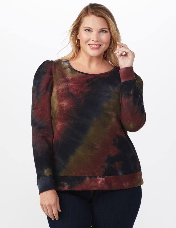 Tie Dye Puff Sleeve Sweatshirt - Plus - Black/Brown - Front