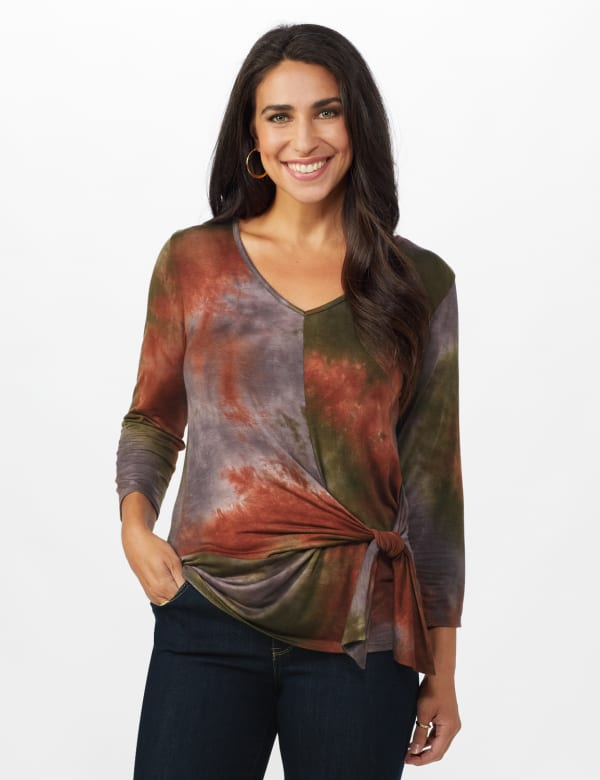 Multi Color Tie Dye Knit Top - Misses - Green/Rust - Front