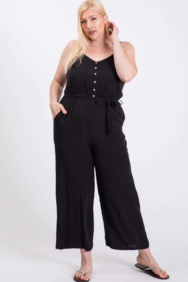 Summertime Poly Linen Jumpsuit - Black - Front