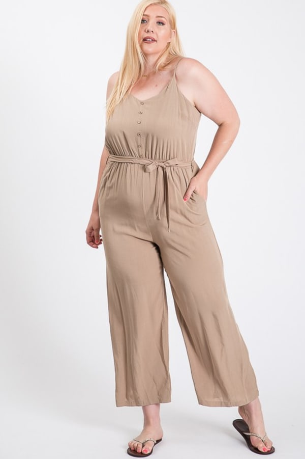 Summertime Poly Linen Jumpsuit - Khaki - Front