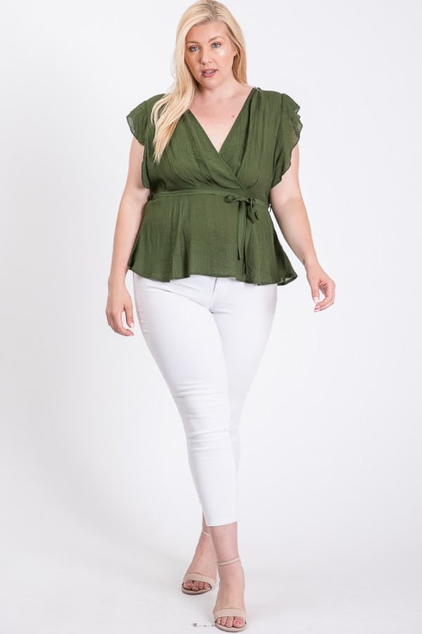 Over Wrap Top W/ Ribbon Belt - Olive - Front