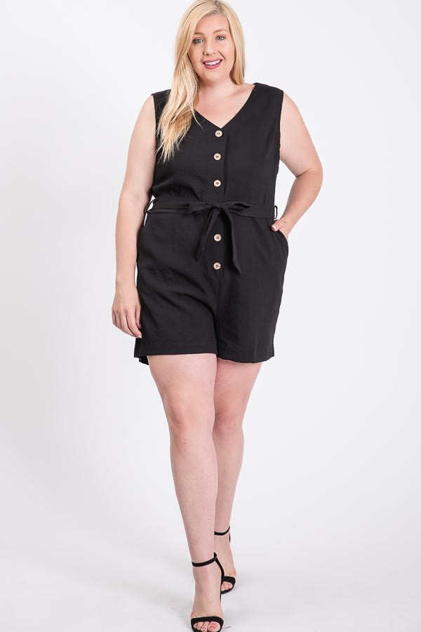 Sleeveless Little Romper -Black - Front