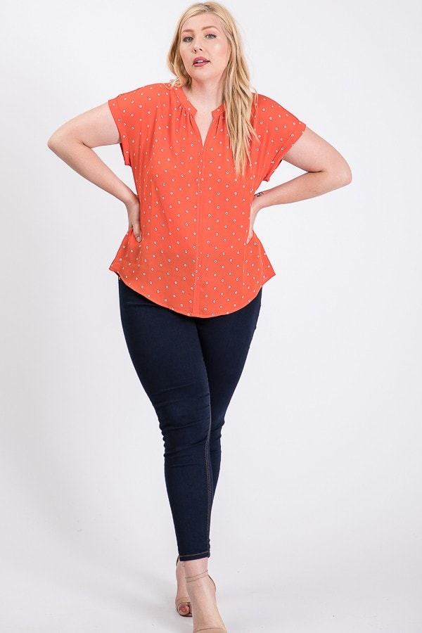 Dot Print Top With Pleated Neckline - Rust - Front