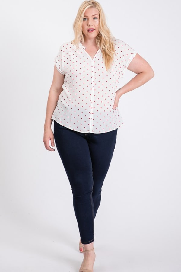 Dot Print Top With Pleated Neckline