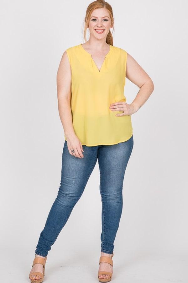 Plain Pintuck Top - Yellow - Front