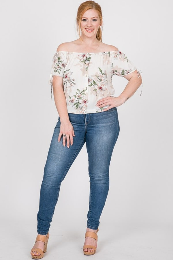 Delicate Floral Top - White - Front