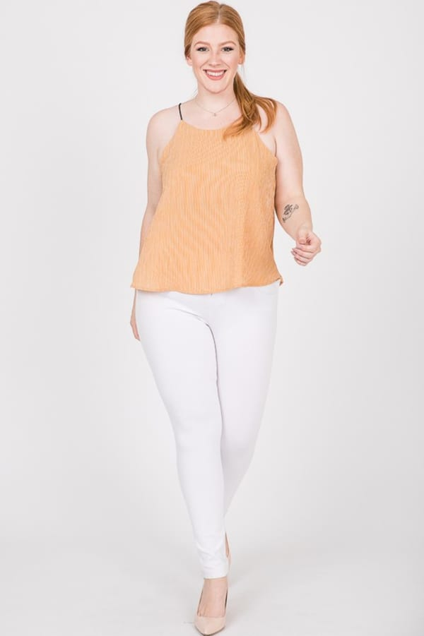 Sleeveless Patterned Top - Mustard - Front