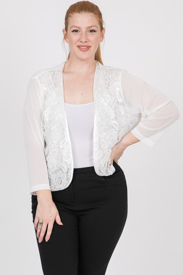 Party Hard Sequin Cardigan -White - Front