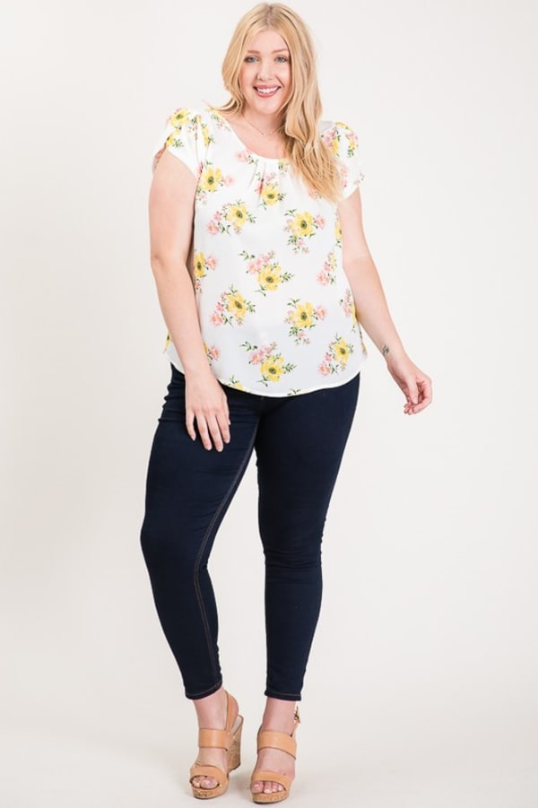 Light And Bright Floral Top - White - Front